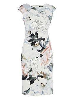 Abstract Floral Print Scuba Dress