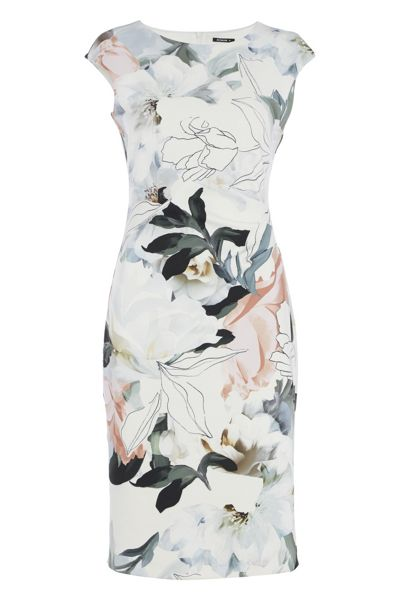 Roman Originals Abstract Floral Print Scuba Dress