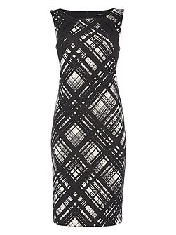 Abstract Linear Print Dress