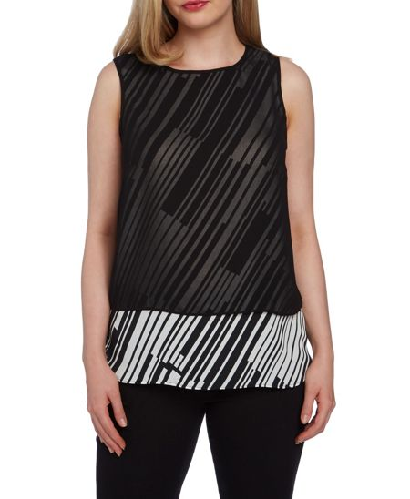 Roman Originals Double Layer Stripe and Chiffon Top