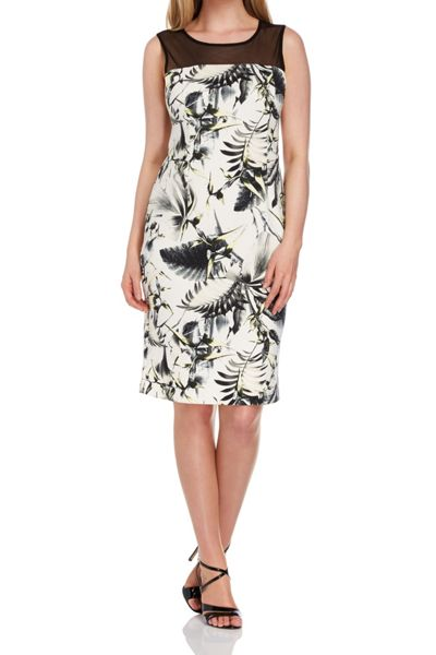 Roman Originals Tropical Foliage Print Scuba Dress