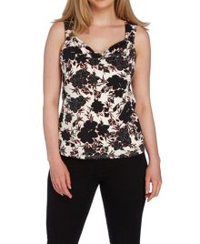 Roman Originals Floral Printed Soft Jersey Cowl Neck Top