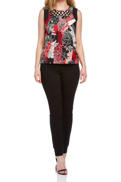 Roman Originals Floral Yoke Detail Top