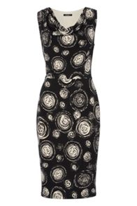 Roman Originals Circle Print Cowl Neck Dress