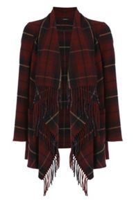 Roman Originals Check Wool Coat with Fringe