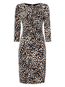 Animal Print Side Drape Dress