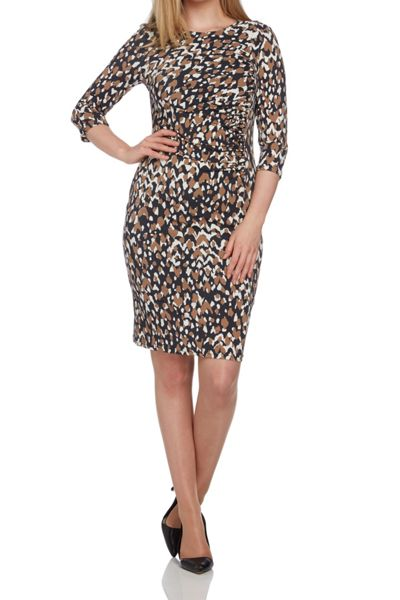Roman Originals Animal Print Side Drape Dress