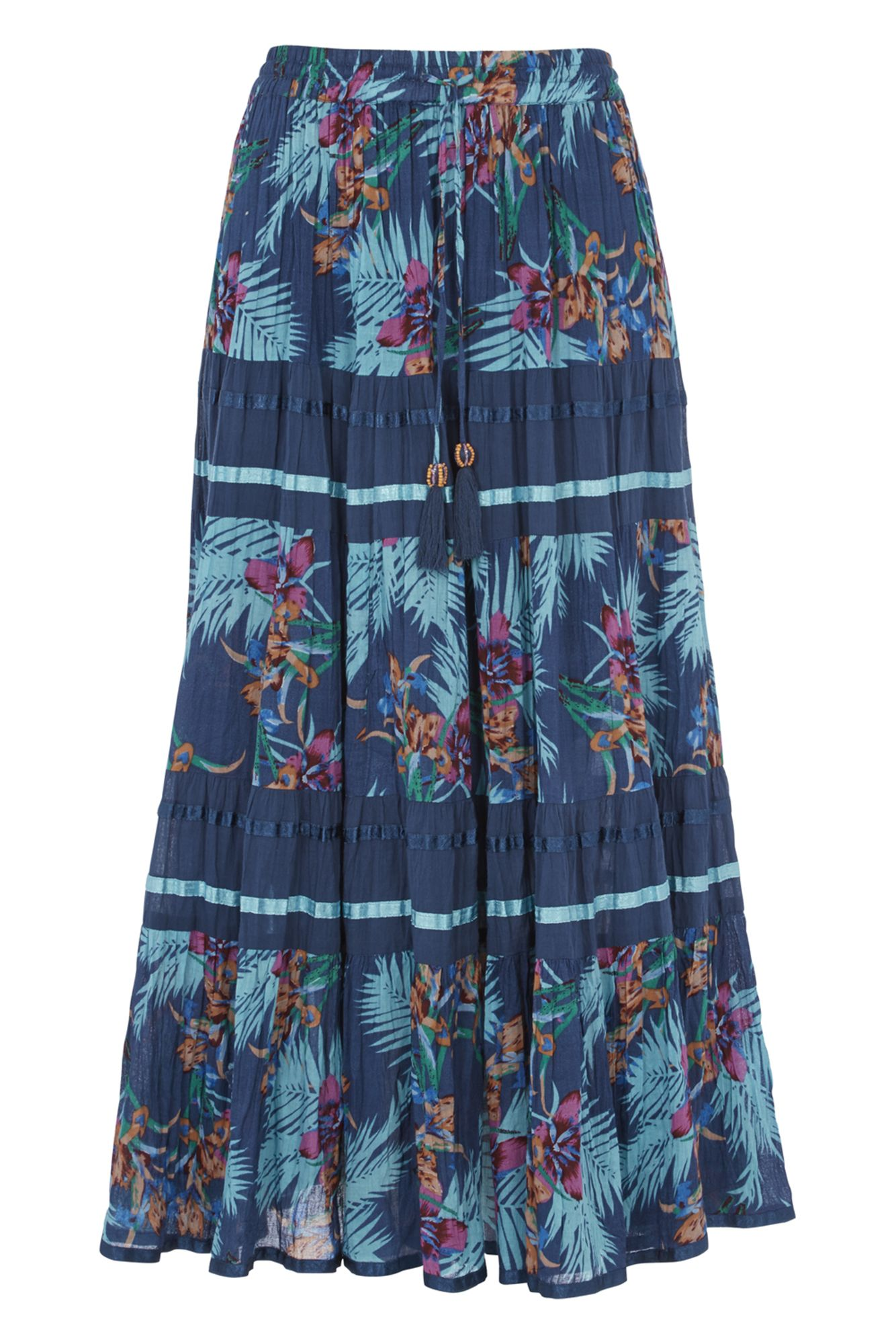 Roman Originals Tropical Print Tiered Maxi Skirt, Blue