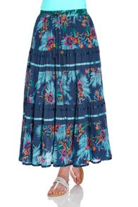 Roman Originals Tropical Print Tiered Maxi Skirt