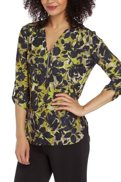 Roman Originals Zip Front Print Top
