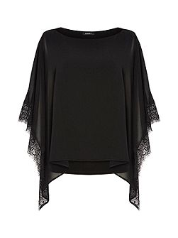 Lace Trim Overlay Top
