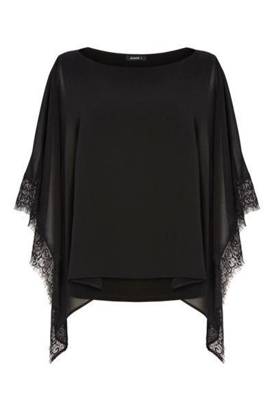 Roman Originals Lace Trim Overlay Top