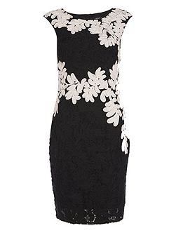 Contrast Tapework And Lace Dress