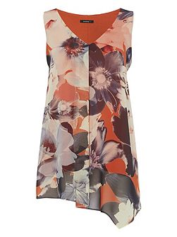 Statement Floral Jersey and Chiffon Overlay Top