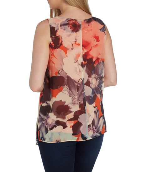 Roman Originals Statement Floral Jersey and Chiffon Overlay Top