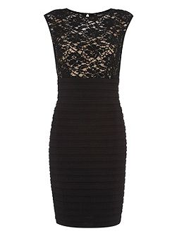 Pleated Sequin & Lace Dress