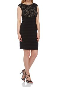 Roman Originals Pleated Sequin & Lace Dress