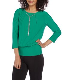 Roman Originals 3/4 Sleeve Drop Necklace Top