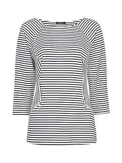 Stripe Zip Panelled Top