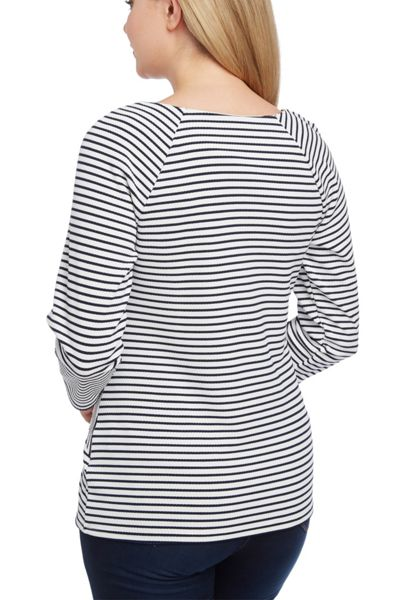 Roman Originals Stripe Zip Panelled Top