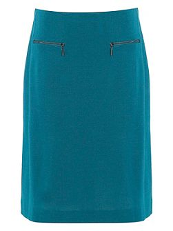 A-Line Zip Detail Ponte Skirt