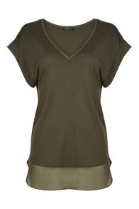 Roman Originals Chiffon and Jersey V Neck T-Shirt