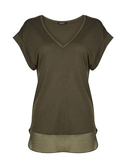 Chiffon and Jersey V Neck T-Shirt