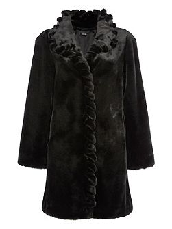 Twist Front Detail Faux Fur Coat