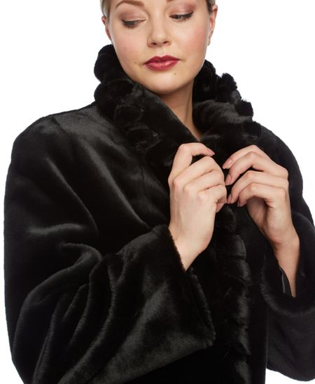 Roman Originals Twist Front Detail Faux Fur Coat