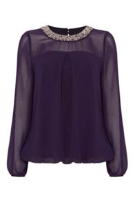 Roman Originals Embellished Neckline Top