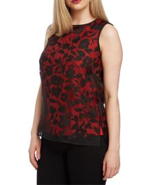 Roman Originals Double Layer Burnout Floral Top