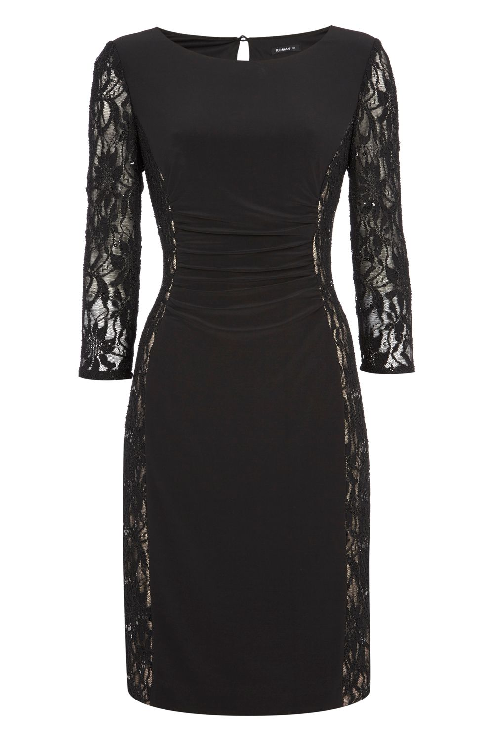 Roman Originals Jersey and Lace Contrast Dress, Black