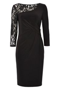 Roman Originals Lace Shoulder Contrast Dress