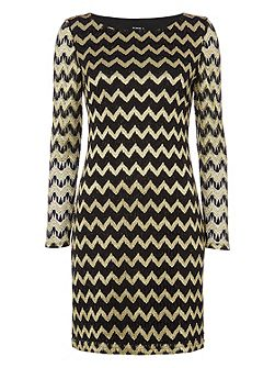 Zig Zag Contrast Lace Dress