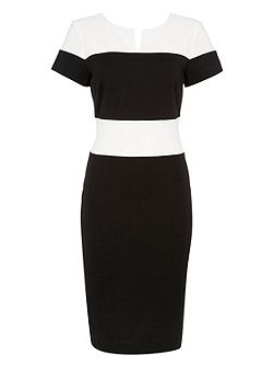 Ponte Contrast Notch Neck Dress
