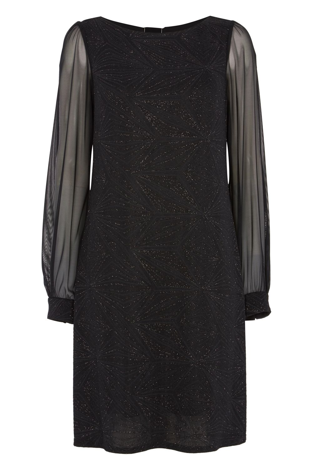 Roman Originals Glitter Sparkle Chiffon Sleeve Dress, Black