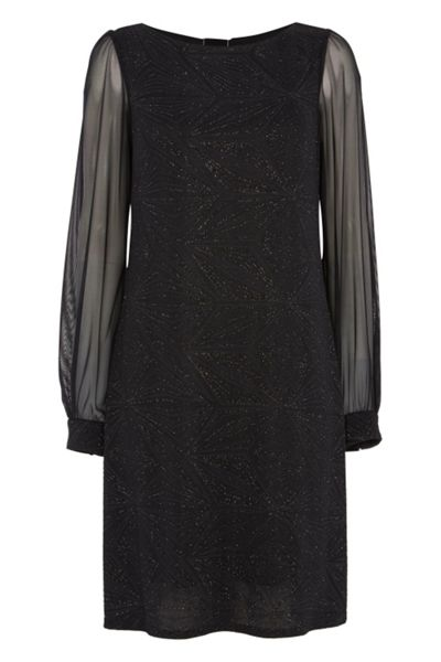 Roman Originals Glitter Sparkle Chiffon Sleeve Dress