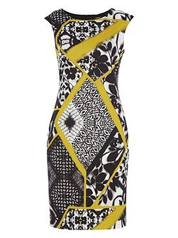 Scuba Abstract Print Shift Dress