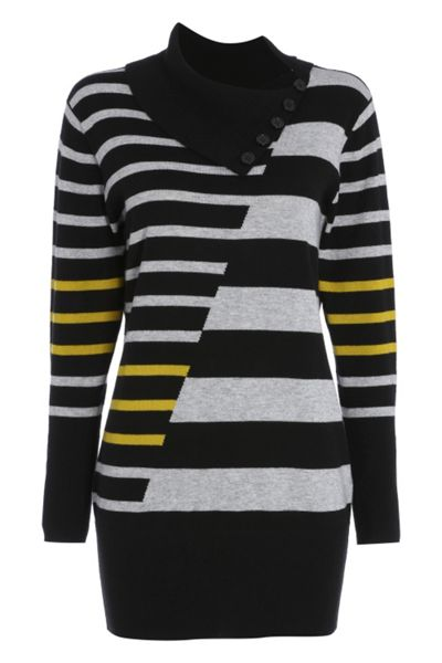 Roman Originals Stripe Roll Neck Tunic