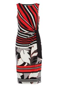 Roman Originals Stripe and Leaf Print Jersey Dress