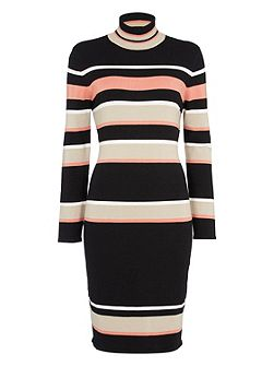 Stripe Polo Kneck Knitted Dress