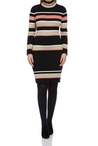 Roman Originals Stripe Polo Kneck Knitted Dress