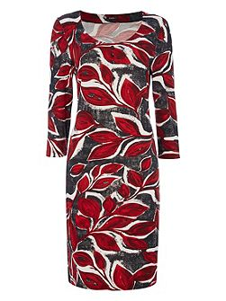 Leaf Print Woolly Touch Dress