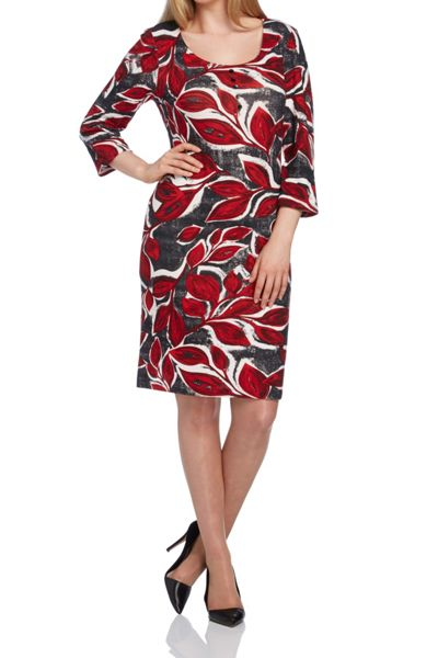 Roman Originals Leaf Print Woolly Touch Dress