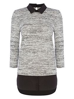Layered Textured Jersey Top with Collar