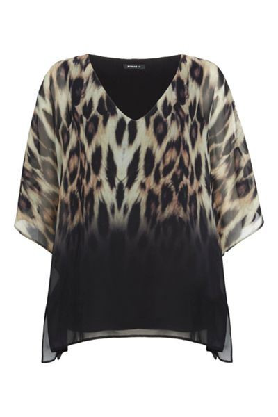 Roman Originals Animal Print Overlay Top
