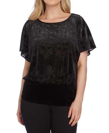 Roman Originals Velvet Burnout Jersey Top
