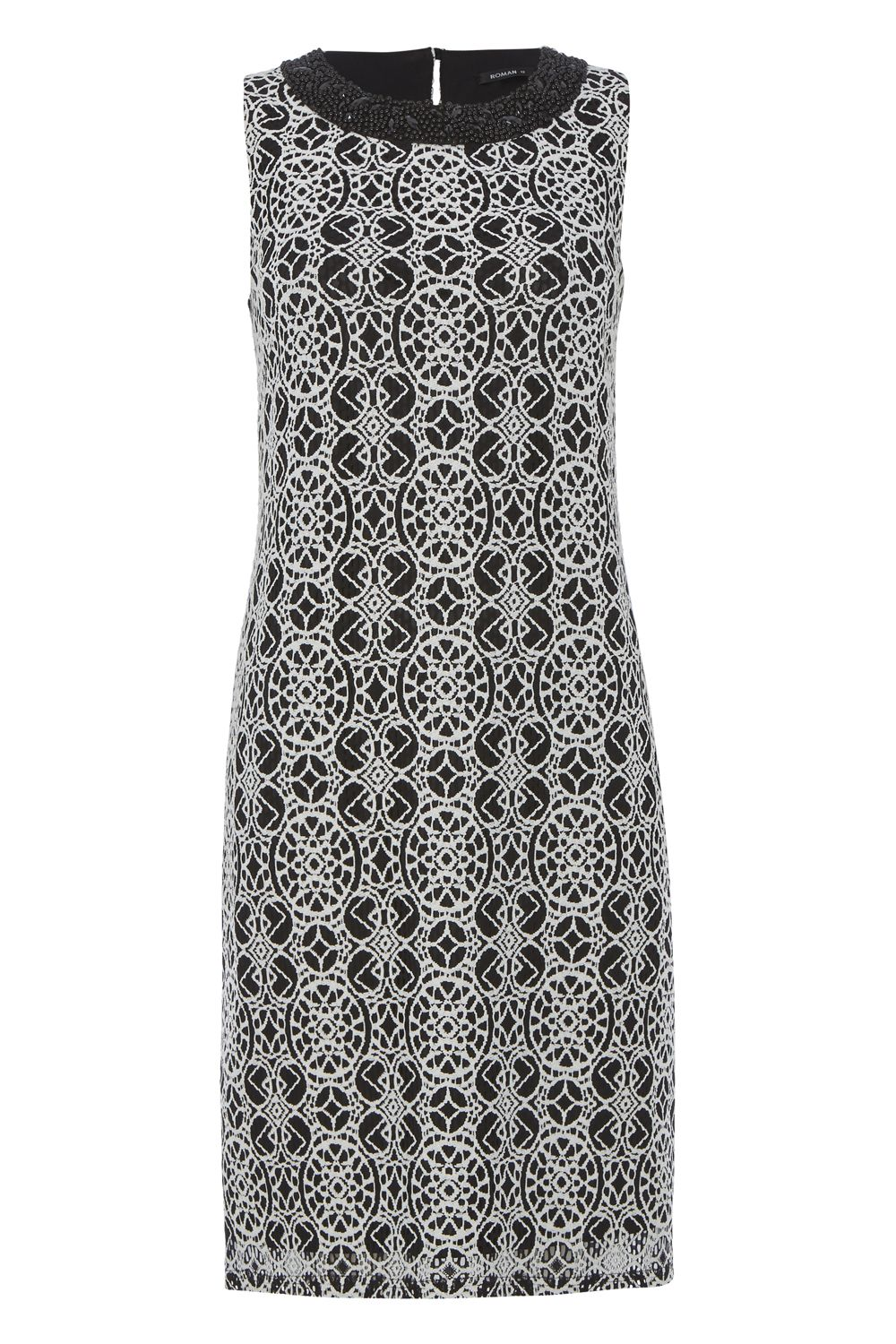 Roman Originals Embroidered Lace Shift Dress, Black