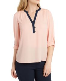 Roman Originals Contrast Placket Top