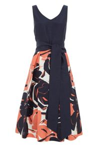 Roman Originals Contrast Floral Fit and Flare Dress